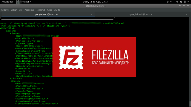 It's an old vulnerability FileZilla, but we can still find servers with such a security breach, Vulnerability allows access to sensitive files from the server. Containing passwords and FTP users. FileZilla version ~ 3.0.9.2+ (and possibly older) store all FTP connection data .xml files in plain text. The following files are what you need to know about: filezilla.xml – Stores most recent server info including password in plaintext. recentservers.xml – Stores all recent server info including password in plaintext. sitemanager.xml – Stores all saved sites server info including password in plaintext. These files can usually be found in the following directories: Windows XP/2K: